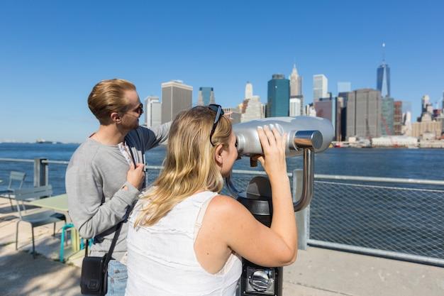 Caucasian couple visiting new york