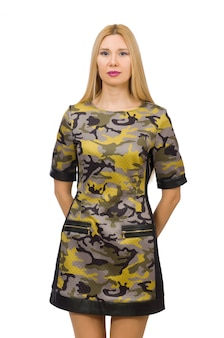 Caucasian girl in military style dress isolated