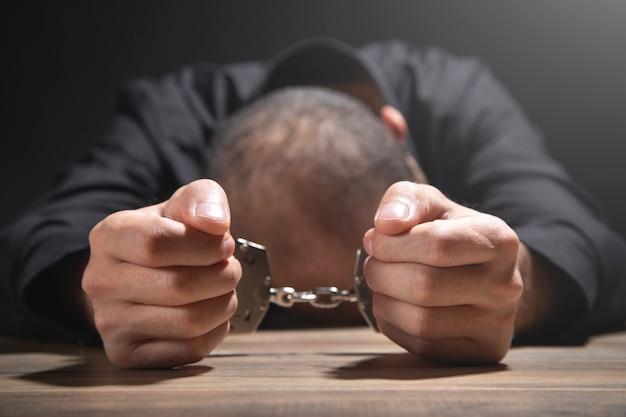 手錠をかけた白人男性。逮捕