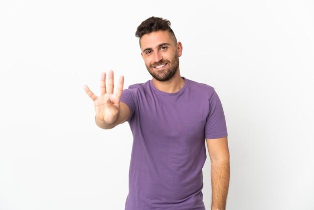 백인 남자 행복하고 손가락으로 4 세 흰색 배경에 고립