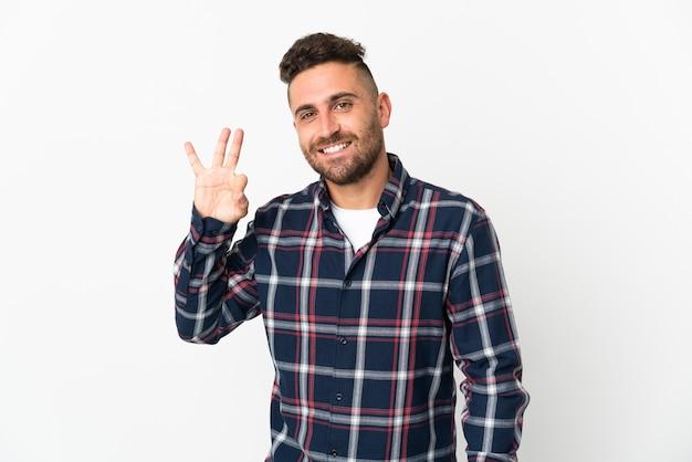 指でokサインを示す白い背景で隔離の白人男性