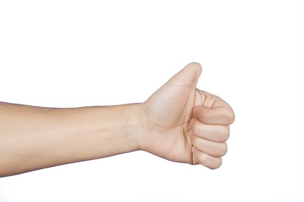 Рука кавказца как знак с ампутированным большим пальцем. изолированные на белом фоне.
