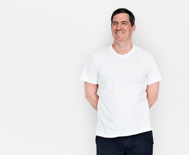 Caucasian man smiling happy