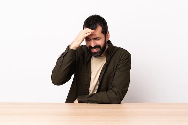 Кавказский мужчина с бородой за столом с головной болью.