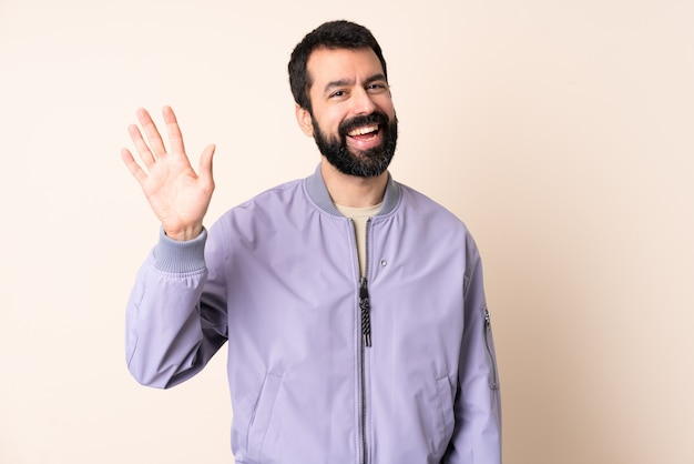Caucasian man with beard wearing a jacket isolated
