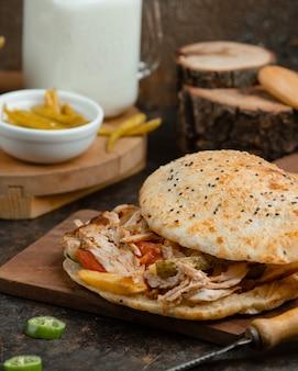 Caucasian meat doner in bread.