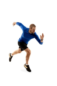 Caucasian professional runner, jogger training isolated on white