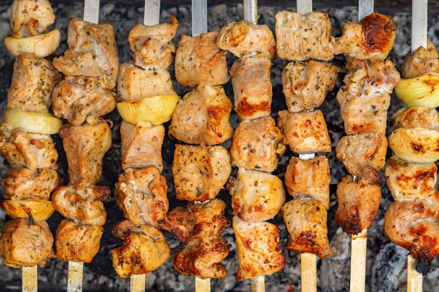 Caucasian shish kebab on skewers