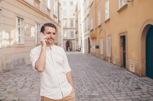 Caucasian tourist boy in european city on vacation