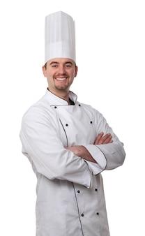 Кавказский молодой повар на белом фоне