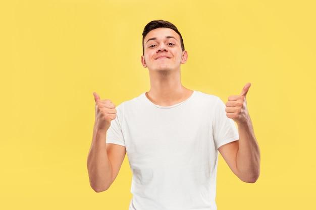 노란색 스튜디오 배경에 백인 젊은 남자의 절반 길이 초상화. 셔츠에 아름 다운 남성 모델입니다. 인간의 감정, 표정, 판매, 광고의 개념. 엄지 손가락을 보여주는, 행복.