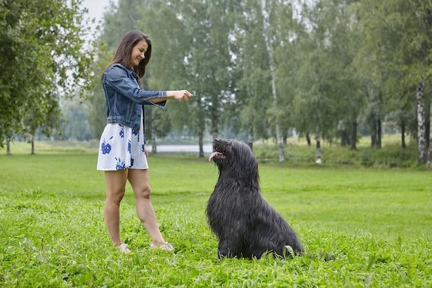 백인 젊은 여자는 공공 공원에서 야외 훈련 briard입니다.