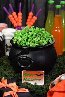 Cauldron corn. halloween treat