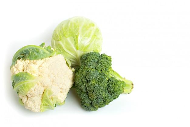 Cauliflower, broccoli and cabbage closeup