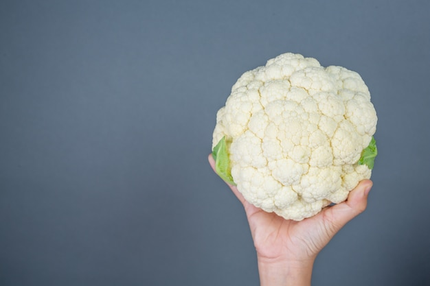 Cauliflower on a gray background.