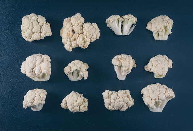 Cauliflower lined up. top view.