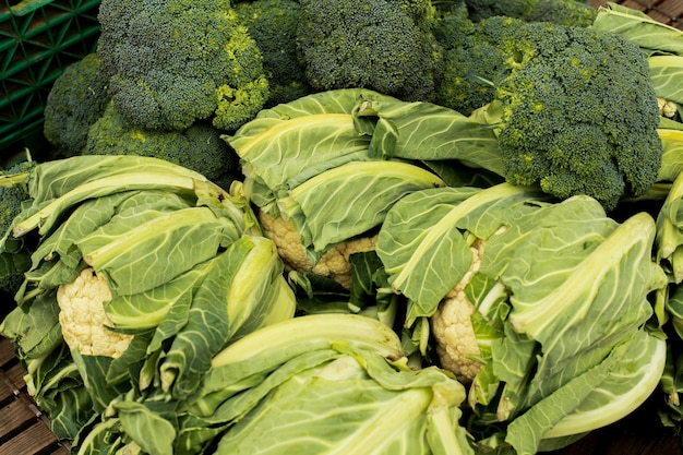 Cauliflower in a market