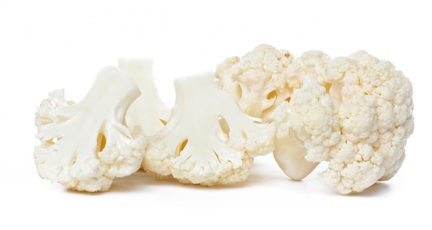 Cauliflower. piece isolated on white.