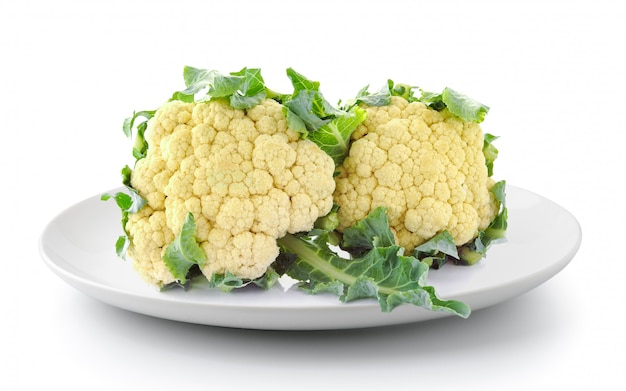 Cauliflower in plate isolated