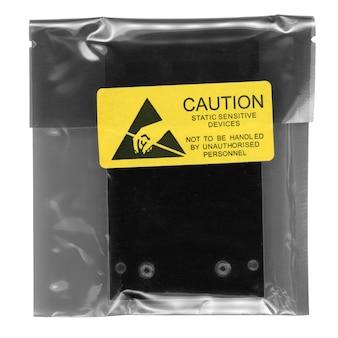 흰색 위에 정전기에 민감한 장치 패킷 주의