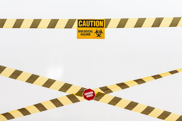 Caution tape and danger sign
