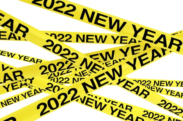 Caution yellow tape strips with 2022 new year sign on a white background. 3d rendering