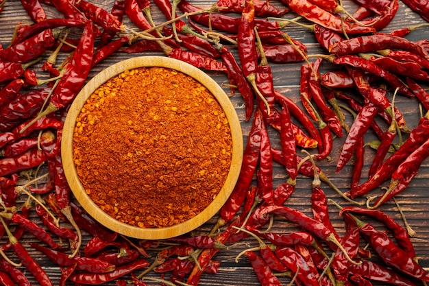 Cayenne dried pepper in small wooden plate