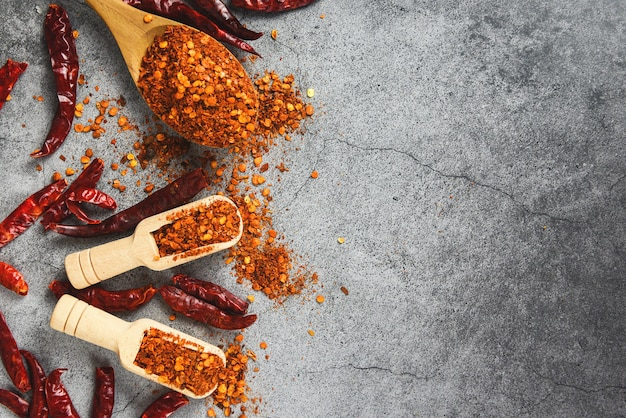 Cayenne pepper and dried chilli powder