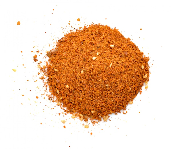 Cayenne pepper spice isolated on a white