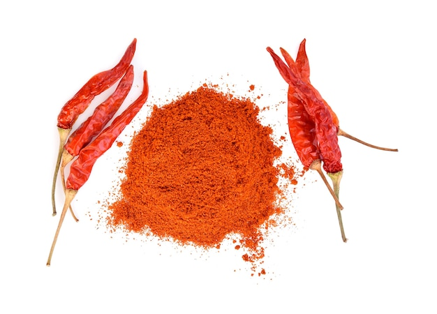 Cayenne pepper with dried pepper isolated