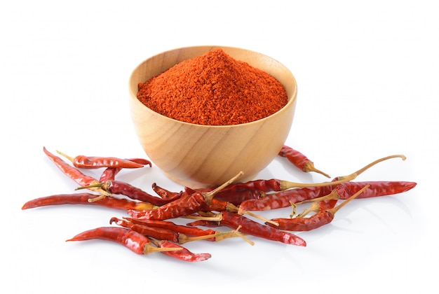 Cayenne pepper in wood bowl on white surface
