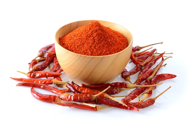 Cayenne pepper in wood bowl on white