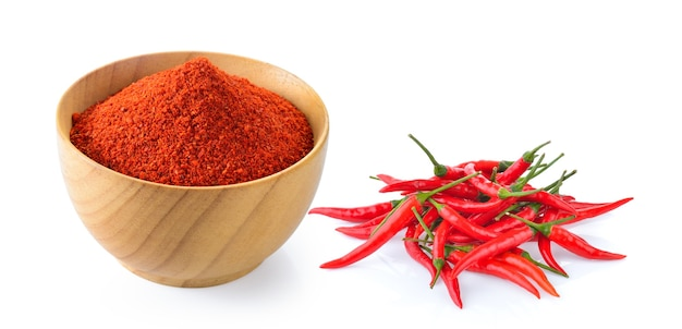 Cayenne pepper in wood bowl