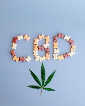 Cbd lettering written from dog or cat food