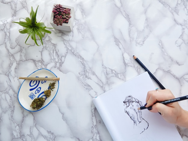 Cbd/thc joint and flower with hand model drawing