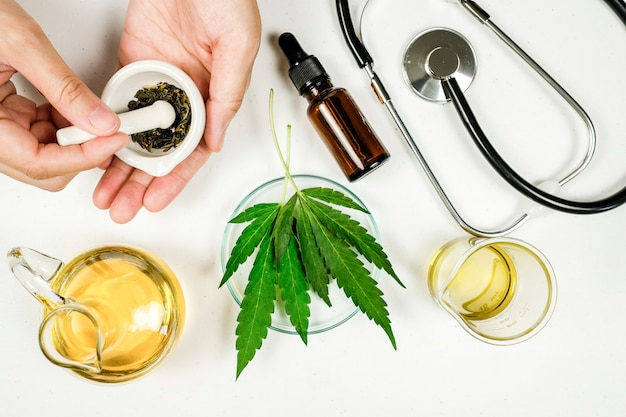 Cbd thc oil medical treatment in doctor laboratory. natural medicine on clinical research.