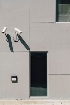Cctv camera in front of building