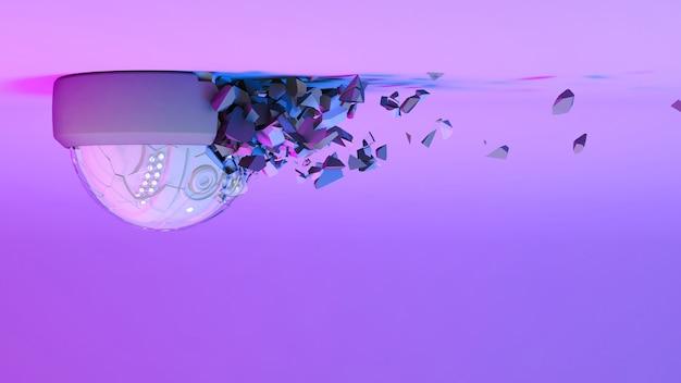 ネオン紫の光の監視カメラがバラバラになります、3dイラスト