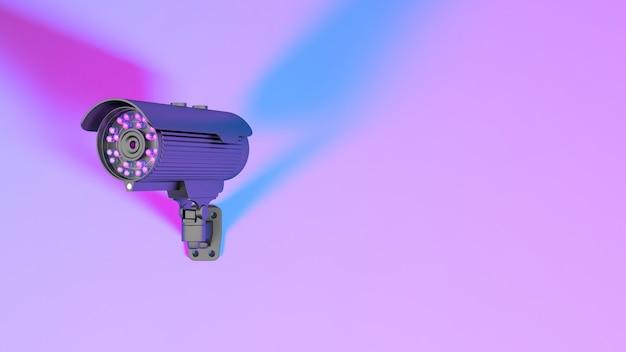 ネオン紫の照明、3dイラストの監視カメラ