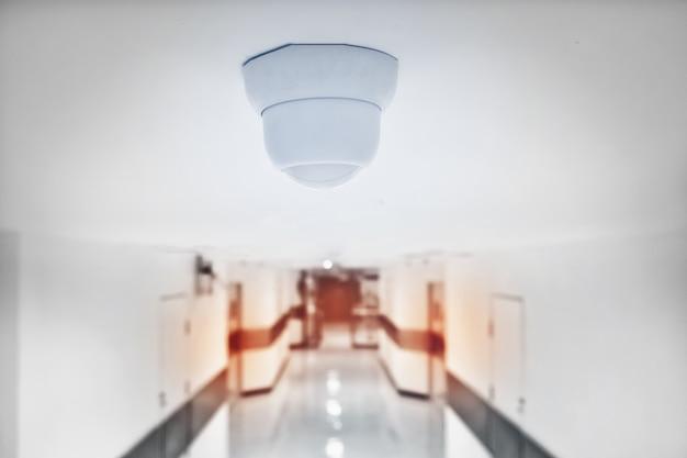 Cctv camera security in building.