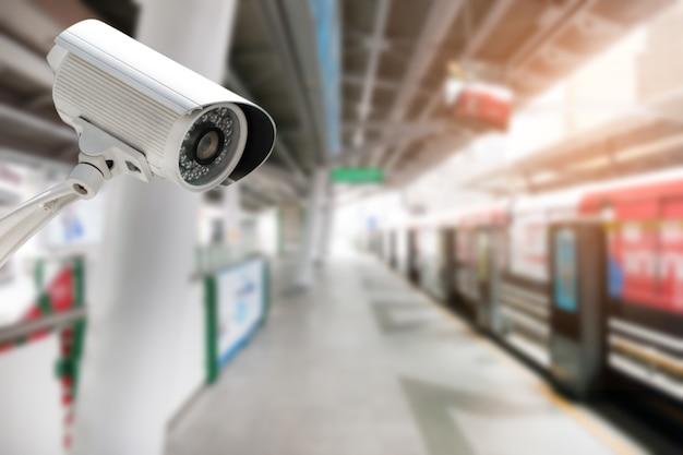 Cctv camera security operating on transportation urban