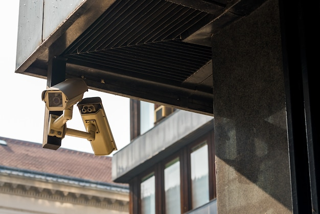 Cctv cameras on the house on the corner