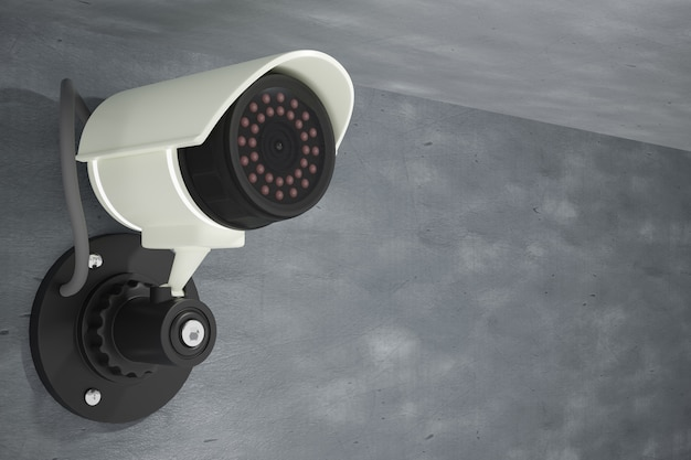 Cctv installed on a cement wall. 3d illustration rendering