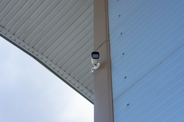 Cctv monitoring. outdoor video surveillance camera for object protection.
