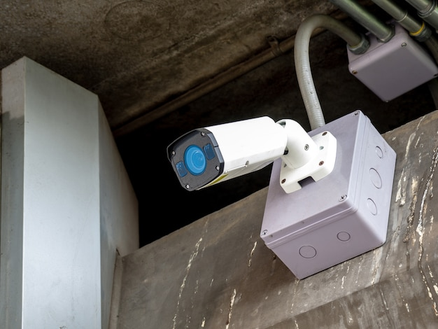 Cctv security camera installed in airport and subway for security guard monitoring and sur