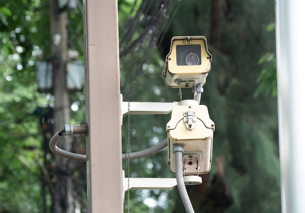 Cctv security camera installed in village for security guard monitoring