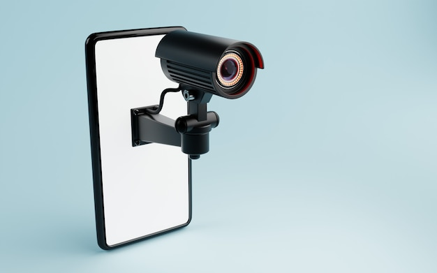 Cctv security camera isolated on white smartphone display in blue background. safe and secure technology inside property and homeowner concept. copy space. 3d illustration rendering