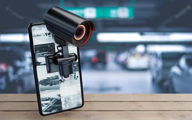 집 거주자의 배경에 있는 주차장에 있는 스마트폰의 cctv 보안 카메라. 재산 및 주택 소유자 개념 내부의 안전하고 안전한 기술. 공간을 복사합니다. 3d 일러스트레이션 렌더링