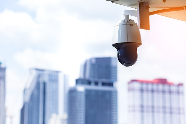 Cctv system camera with background pf blur city building security safe