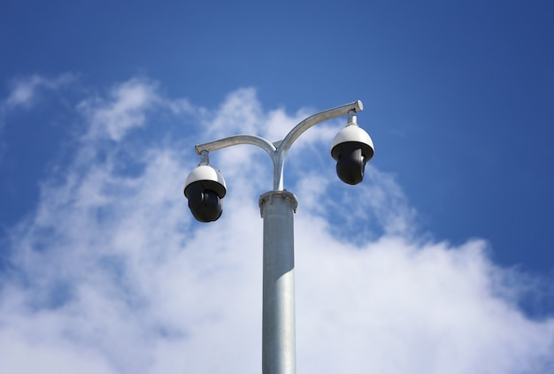 Cctv tool on blue sky background,equipment for security systems and have copy space for design.